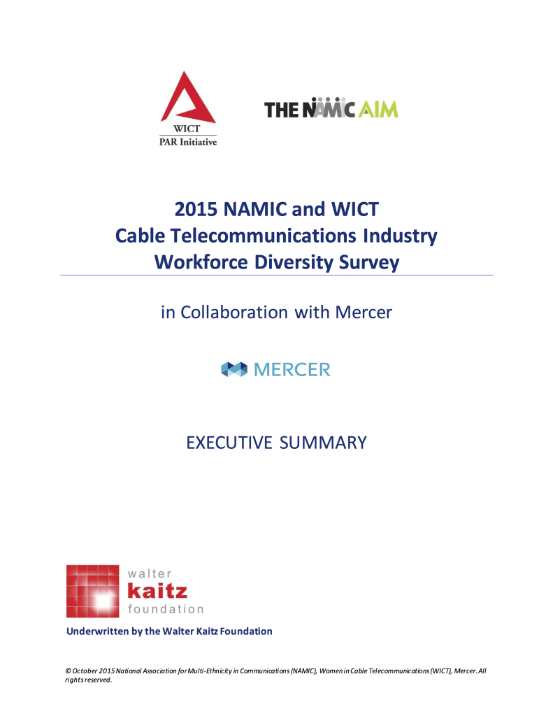 2015 NAMIC AIM and WICT PAR Executive Summary