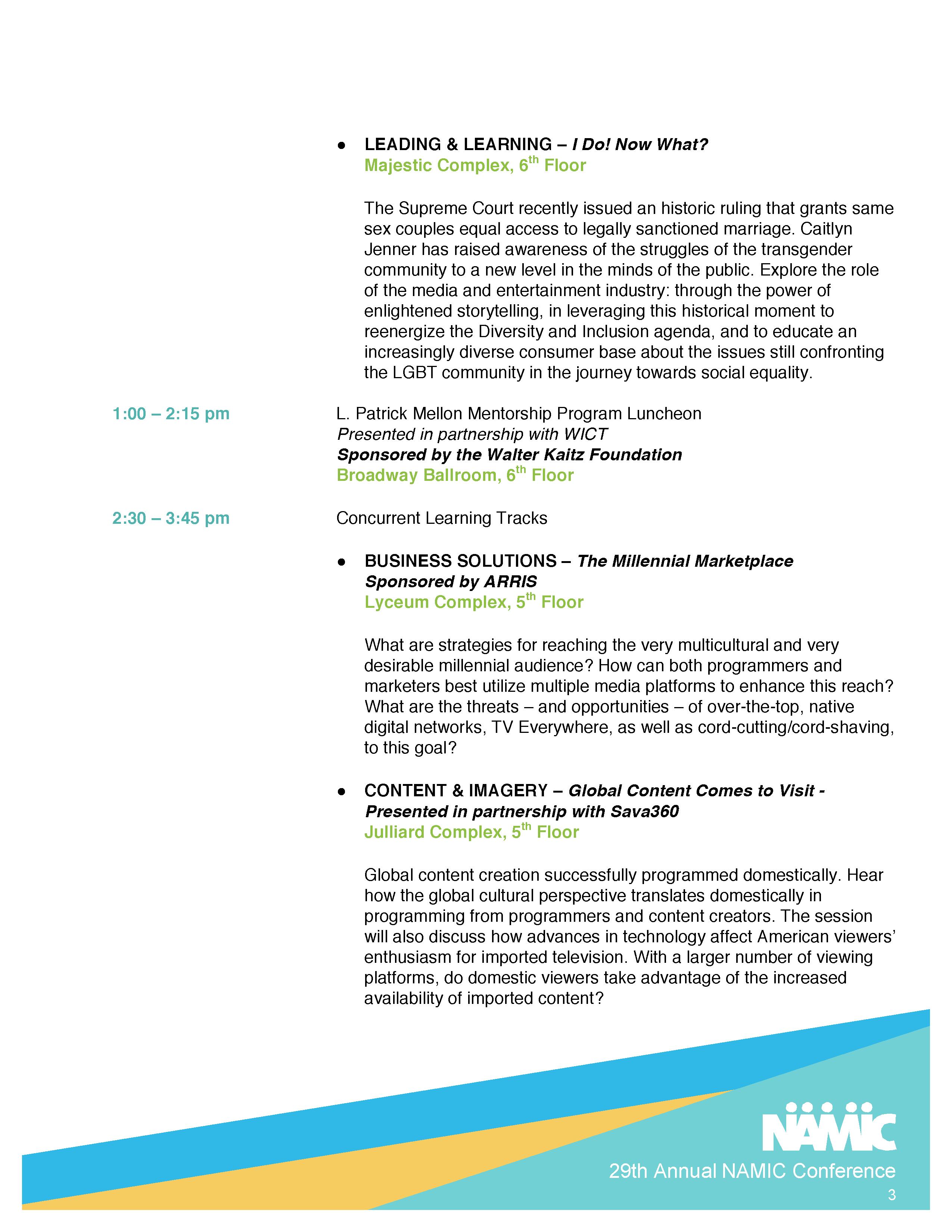 NAMIC | 29th Annual NAMIC Conference Agenda