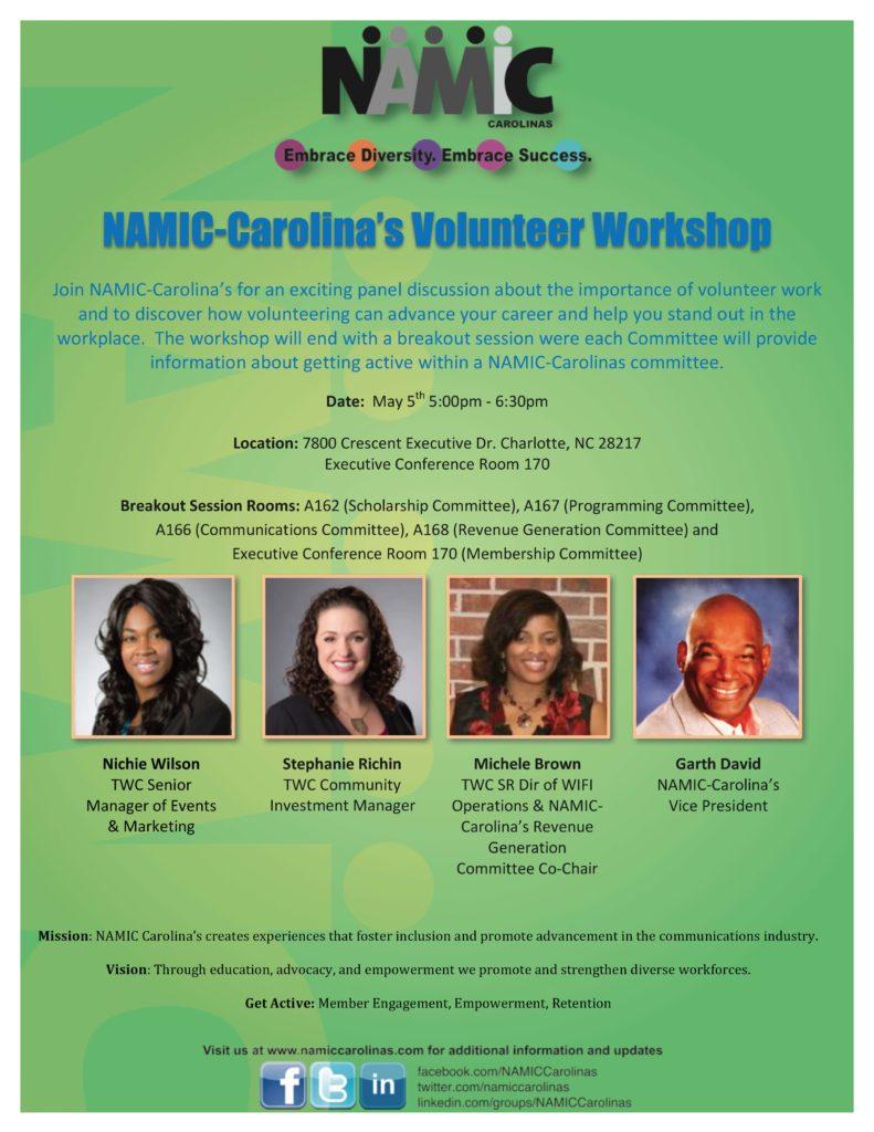 NAMIC Carolinas Volunteer Workshop Registration Flyer Final Draft